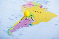Free Argentina Pinned At The Map Stock Photo - 151165470