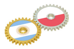 Argentina and Poland flags on a gears, 3D rendering Royalty Free Stock Images