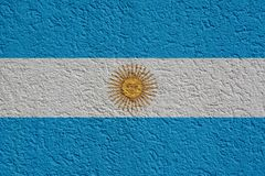 Argentina Politics Or Business Concept: Argentine Flag Wall With Plaster. Background Texture stock photos