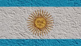 Argentina politics or business concept: Argentine flag wall with plaster stock footage