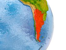 Argentina on realistic globe. Argentina in red on model of globe with embossed countries and realistic water. 3D illustration. Elements of this image furnished Royalty Free Stock Images