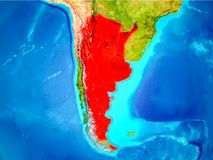 Argentina in red on Earth. Argentina highlighted in red on planet Earth. 3D illustration. Elements of this image furnished by NASA Stock Photos