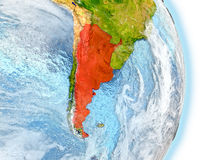Argentina in red on Earth Royalty Free Stock Photo