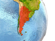 Argentina in red on Earth Stock Photography