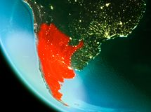 Argentina in red in the evening. Country of Argentina in red on planet Earth in the evening. 3D illustration. Elements of this image furnished by NASA Stock Images