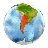 Argentina in red on full Earth Stock Photography
