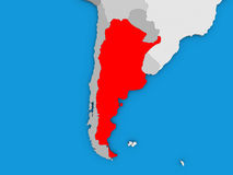 Argentina in red on globe Stock Photo
