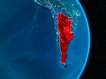Argentina in red at night. Argentina from orbit of planet Earth at night with visible borderlines and city lights. 3D illustration. Elements of this image Stock Photography