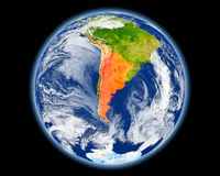 Argentina in red from space Royalty Free Stock Photos