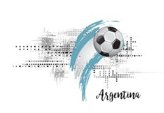 ARGENTINA SOCCER NATION FLAG. FOOTBALL TEAM TEMPLATE ILLUSTRATION. PAINTED ART AND DOTS GRUNGE BACKGROUND. SOCCER ILLUSTRATION. FOOTBALL TEMPLATE LOGO. BALL AND stock illustration