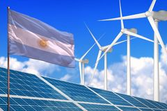 Argentina solar and wind energy, renewable energy concept with solar panels - renewable energy against global warming - industrial royalty free illustration