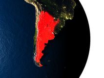 Argentina from space during dusk Stock Images