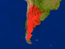Argentina from space in red Stock Photos