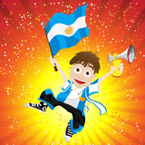Argentina Sport Fan with Flag and Horn Stock Photo