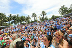 Argentina supporters on Miami Beach Royalty Free Stock Image