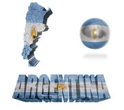 Argentina Symbols. Argentina flag and map in different styles in different textures Royalty Free Stock Images