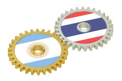 Argentina and Thailand flags on a gears, 3D rendering Royalty Free Stock Photography