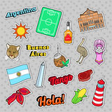 Argentina Travel Elements with Architecture and Football Stock Photo