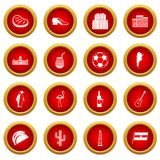 Argentina travel items icon red circle set Royalty Free Stock Photography