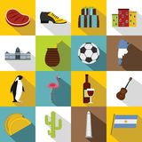 Argentina travel items icons set, flat style Royalty Free Stock Images