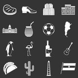 Argentina travel items icons set grey vector. Argentina travel items icons set vector white isolated on grey background Stock Photography