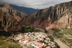 Argentina travelling: View on Iruya. Small village Iruya nesteled in rough moutainscape in northwestern Argentina Stock Image