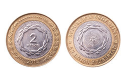 Argentina, two pesos coin, clipping path. Royalty Free Stock Images