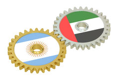 Argentina and UAE flags on a gears, 3D rendering Royalty Free Stock Images