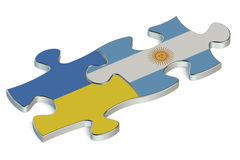 Argentina and Ukraine puzzles from flags Stock Photo