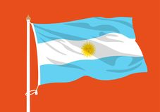 Argentina flag waving. Argentina vector national  flag waving Royalty Free Stock Photography