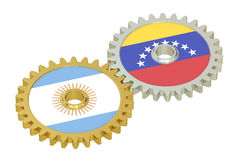 Argentina and Venezuela relations concept, flags on a gears. 3D Royalty Free Stock Images