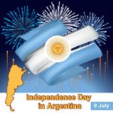 Argentina vintage card - poster vector illustration, argentina flag colors. Fireworks in the color of the flag and map of Argentina Stock Images