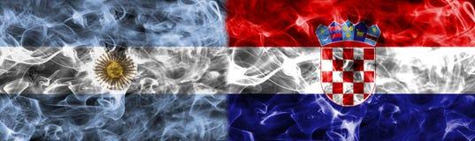 Argentina vs Kroatien röker flaggan, grupp D, fotbollvärldscup 201 royaltyfri illustrationer