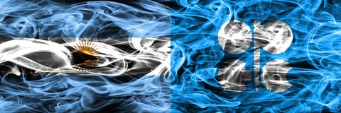 Argentina vs OPEC smoke flags placed side by side. Thick colored royalty free illustration