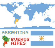 Argentina on world map, border shape flag and Stock Photos