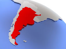 Argentina on world map Royalty Free Stock Image
