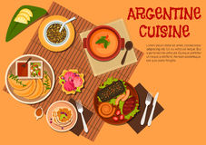 Argentine asado dishes with desserts flat icon. Argentine asado dishes icon with grilled beef steak, sausages and liver, empanadas with ketchup and marinated Stock Photo
