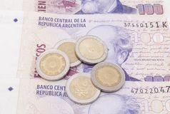 Argentine banknotes and coins Stock Photo
