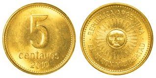 5 argentine centavos mynt Fotografering för Bildbyråer