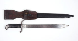 Argentine combat knife. Argentine M1909 sidearm issued as a squad tool for cutting and chopping as well as a combat weapon. This type of blade was still in use Stock Image
