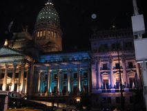 Argentine Congress illuminated by the Bicentennial Buenos Aires 2010.  Stock Photos