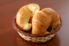 Argentine Croissants. Medialunas (Argentine croissants) in basket on wood table Stock Image