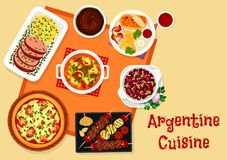 Argentine cuisine lunch menu with dessert icon Stock Photography