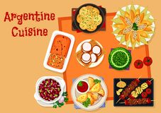 Argentine cuisine icon with traditional food Royalty Free Stock Image