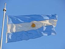 Argentine flag. The great argentine flag against the sky Royalty Free Stock Image