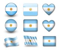 The Argentine flag. Set of icons and flags. glossy and matte on a white background Stock Photography