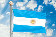 Argentine flag waving in blue cloudy sky, 3D rendering Royalty Free Stock Images
