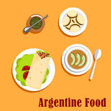 Argentine lunch and dessert food Royalty Free Stock Image