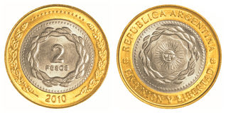 2 argentine peso coin Royalty Free Stock Photography