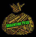 Argentine Peso Shows Currency Exchange And Banknotes Royalty Free Stock Photography
